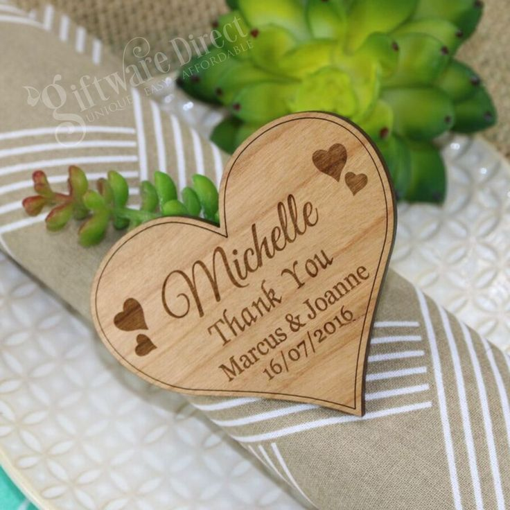 Amaze your wedding guests with our unique engraved Heart wooden Place card. A personalised touch cant be beaten, and there is no better way than with engraving the bride and grooms names, thankyou messages or even guest names. Each tag is professionally laser cut and engraved from 4mm thick cherry timber and finished in a beautiful satin lacquer. #GiftwareDirect #bamboo #placecard #magnet
