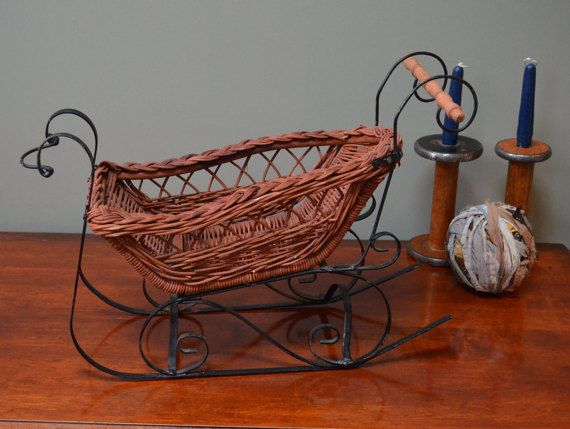 $39.90 ✿ bluefolkhome on etsy ✿ Sleigh Wicker Basket Black Wrought Iron Legs Runners Handcrafted French Country Cottage Farmhouse Winter Decoration I Ship Internationally