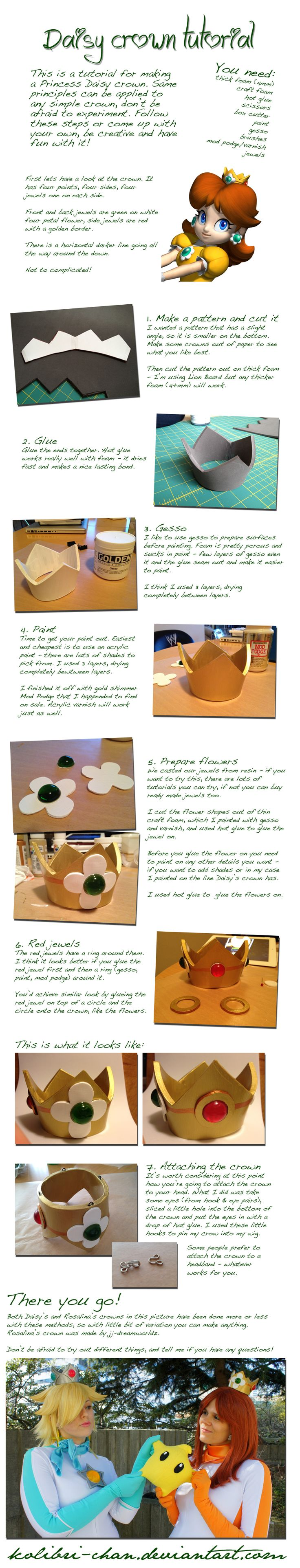 Princess Daisy crown tutorial by *kolibri-chan on deviantART