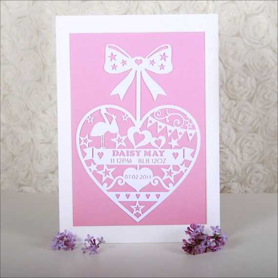 New Baby Heart Papercut by ThePenguinTree on Etsy, £12.95