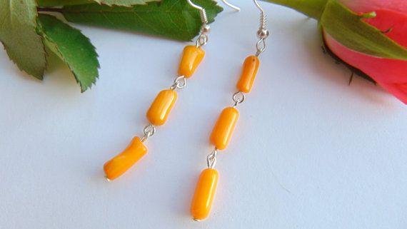 Natural Coral Orange Dangle Earrings Earrings by MaddaKnits