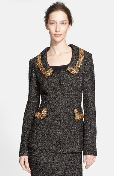 Free shipping and returns on St. John Collection Sparkle Knit Jacket with Metallic Eyelash Trim at Nordstrom.com. A shimmering, evening-ready jacket captures attention with golden eyelash trim at the vintage-inspired collar and waist-defining flaps.