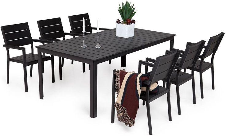 Easy Garden-Ruokailuryhmä Marjaana 6 pinottavalla tuolilla, musta-4