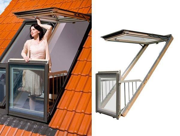 Window that opens up into a roof patio.