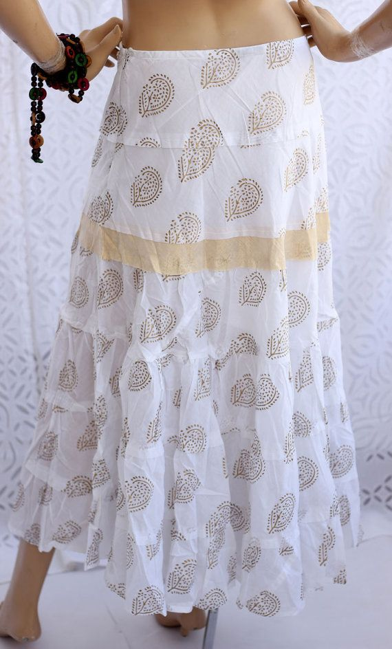 Cotton skirt - long Maxi printed White cotton pleated circle skirt perfect for summer adorned with Indian golden gota