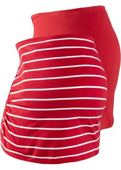Umstands- Bauchband im Doppelpack, bpc bonprix collection, rot uni+ rot/weiß geringelt
