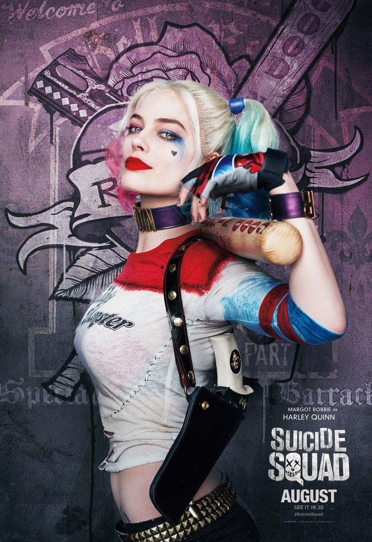 『バットマン』シリーズより登場。元精神科医だが、ジョーカーのショック療法と改造によりサイコパス化。http://www.comicbookmovie.com/suicide_squad/11-new-suicide-squad-character-posters-a142746