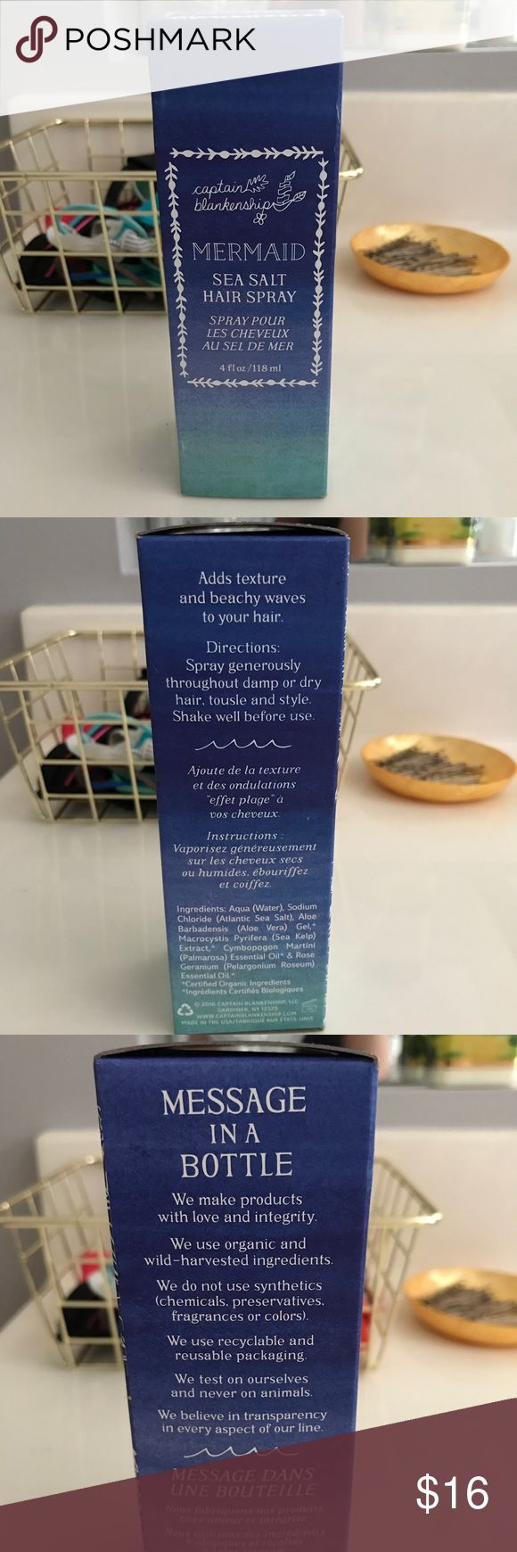 Captain Blankenship Mermaid Sea Salt Hair Spray New in box! This stuff is AMAZING for instant beachy waves! Captain Blankenship Makeup