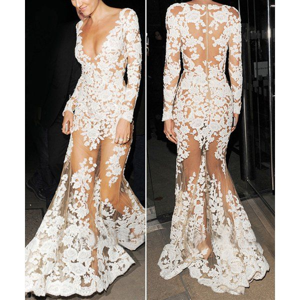 Plunging Neck Long Sleeve See-Through Dress
