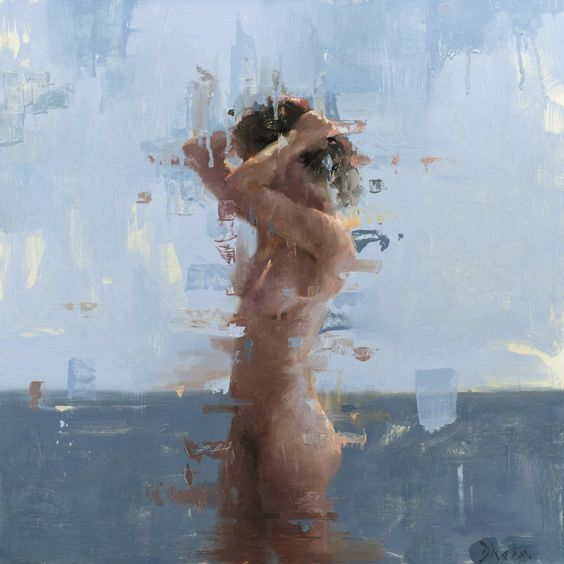 https://flic.kr/p/ADkLcR | Jacob Dhein - Nude in Blue II [2014] | In 2006, Jacob graduated with a Bachelors of Fine Arts degree with an emphasis in Painting and Sculpture.  He worked for several years after graduation, although still continued with his artwork, mainly doing portrait commissions.  During this time he took workshops to enhance his skills with painters whose work he was interested in. After two years, in 2009, Jacob dedicated himself to painting full time.   See…