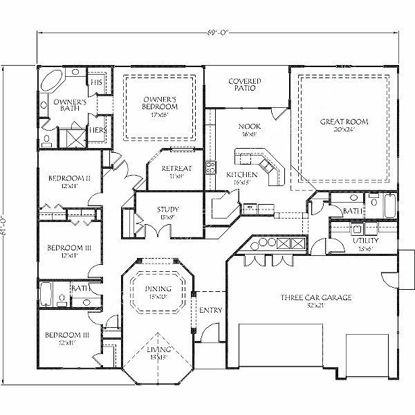 Image Result For 4 Bedroom Ranch House Plans With Bedrooms On Same Side Of House New House Plans 4 Bedroom House Plans Ranch House Plans