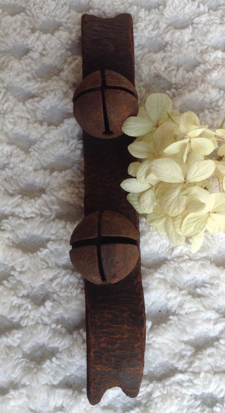 Antique Iron Sleigh Bells...Leather Strap... by 1840VintageLane on Etsy