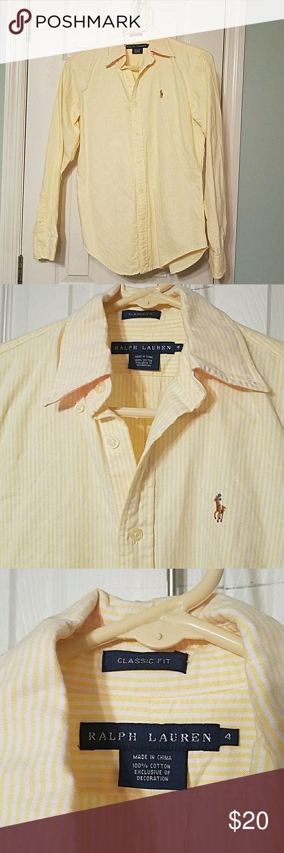 Ralph Lauren women's Oxford button down Yellow and white striped long sleeve button down Ralph Lauren Oxford , classic fit size 4. EUC 100% Cotton  Multi-color horse emblem Ralph Lauren Tops Button Down Shirts