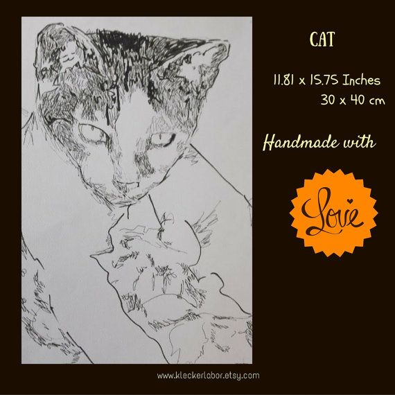 Pop art illustration: cat  30 x 40 cm  Fineliner | Shop this product here: spreesy.com/kleckerlabor_blog/80 | Shop all of our products at http://spreesy.com/kleckerlabor_blog    | Pinterest selling powered by Spreesy.com
