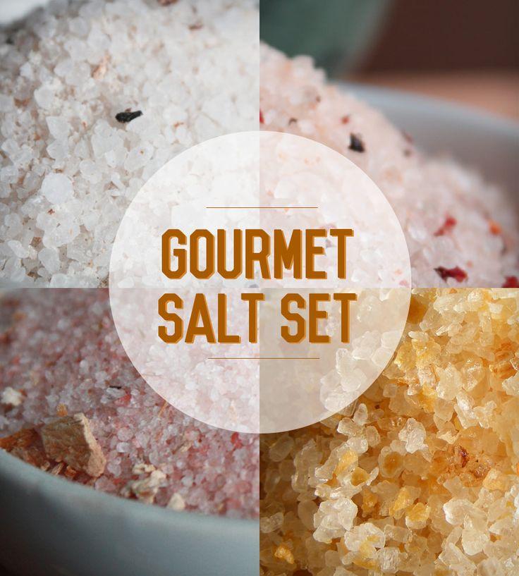 GOURMET SALT ASSORTMENT includes: sundried tomato sea salt, porcini mushroom pink himalayan salt, aged balsamic infused sea salt and roasted garlic sea salt.