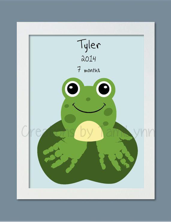 Frog Handprint Art  Personalized Baby by CreationsbyTamiLynn, $20.00