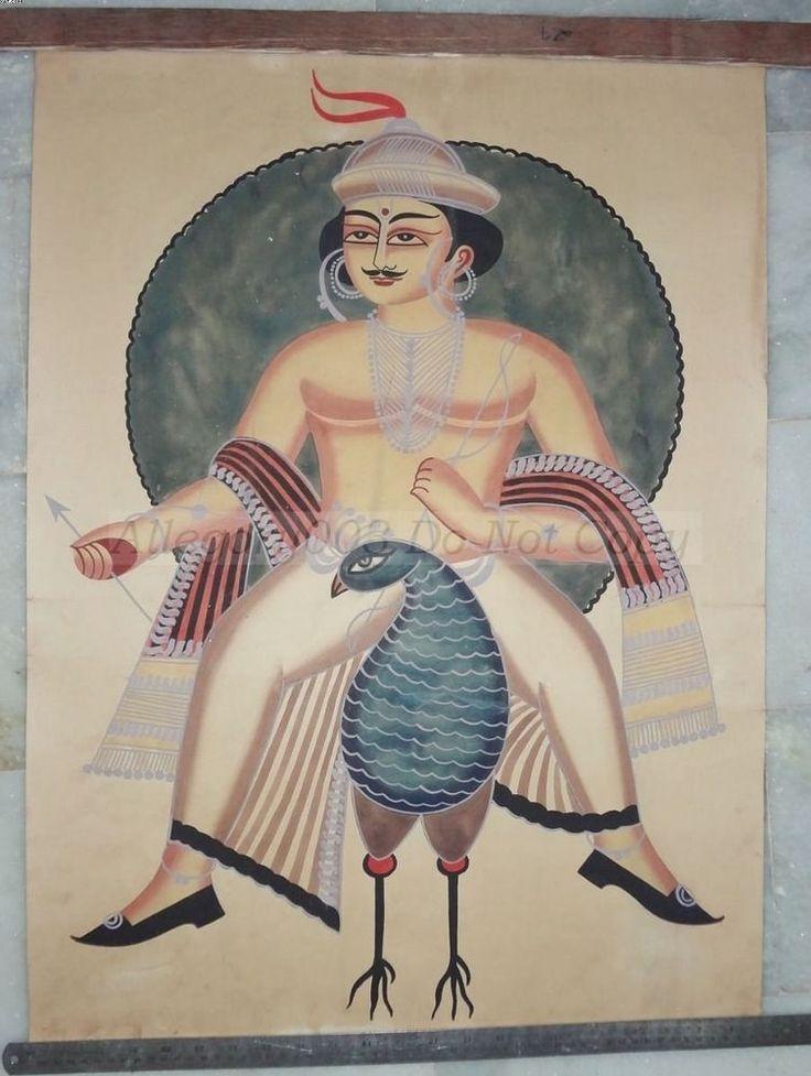 India Large KALIGHAT PAINTING Lord SHANMUGHA 39382