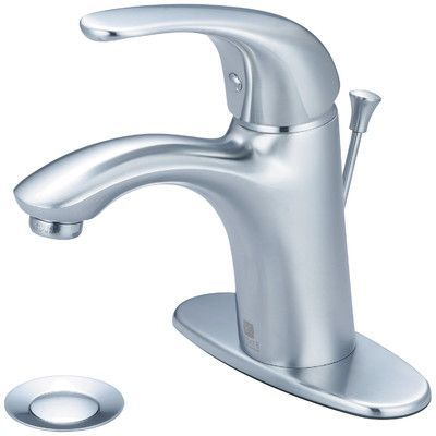 Pioneer Vellano Single Handle Bathroom Faucet with Deck Cover Plate Finish: Stainless Steel