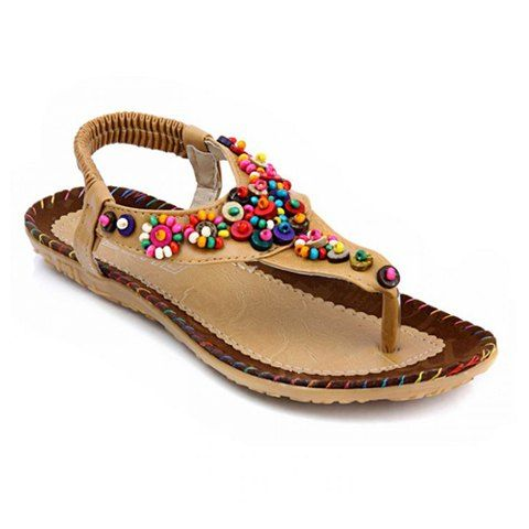 National Style Flip-Flop and Beading Design Women's Sandals