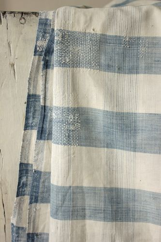 Antique French Vichy check linen cotton blue striated indigo 18th century