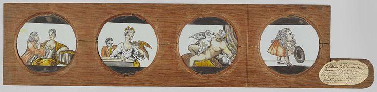 Anonymous | Drie erotische taferelen en één dwerg, Anonymous, c. 1700 - c. 1790 | Vier ronde glazen in een houten vatting met handvat. Uiterst links: een man pakt de ontblote borst van een vrouw, zij pakt hem bij het gezicht. Rechts daarvan: een vrouw heeft een vogel op haar arm. Achter haar een zwarte jongen. Rechts daarvan: Leda en de zwaan. Leda ligt naakt op bed, de zwaan ligt over haar heen. Uiterst rechts: een dwerg neemt zijn hoed af.