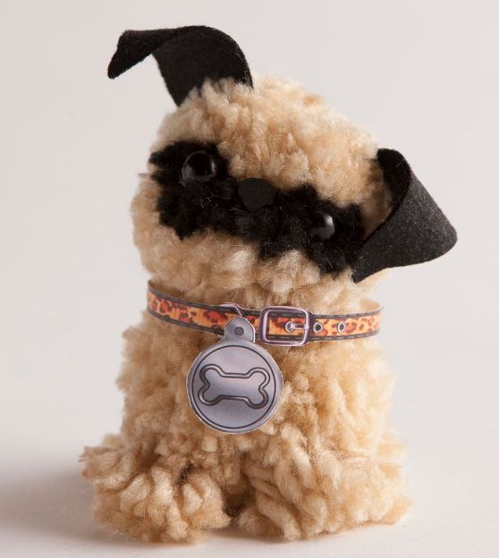 Make an adorable pug for Cute pom pom crafts