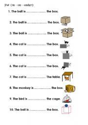 preposition worksheets in on under - Google Search