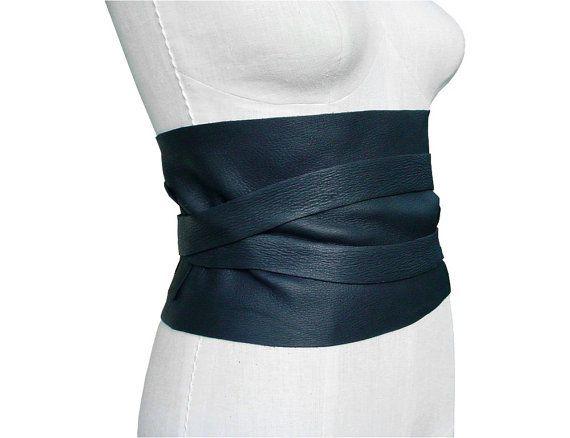 Large ceinture en cuir noir brun ou Tan Underbust par ManoBello