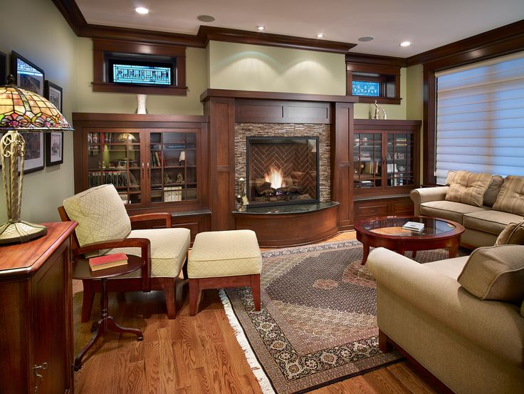 Craftsman fireplace family room traditional with granite hearth roman blinds