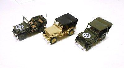 3x-Rare-Willys-MB-Jeep-1-43-CJ2A-Special-Edition-Diecast-Daimler-Chrysler-Schuco