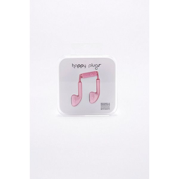 Happy Plugs Pink Earbud Headphones (£20) ❤ liked on Polyvore featuring accessories, tech accessories, pink, earphones earbuds, pink headphones, pink earbuds, happy plugs and ear bud headphone