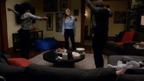 Dancing it out makes me happy, not so much Grey's, I think that tends to make you sad.