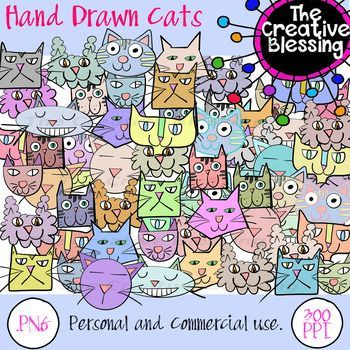 Colorful Cat Head Clip Art Graphics