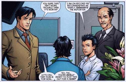 """First, I would just like to stress that Damian's joking. It's hard to tell sometimes when he is, but Dick can, which is why he says ""let's call that plan B."" Second, & more telling: Damian's saying it would be easier to just kill someone than see Tim acting weak for a year. Given their rivalry, you'd think he'd prefer relishing in watching Tim on crutches, even if it is all an act. Sure, Vicki is a threat to him as well, but still, the only one taking a hit for the team is Tim."" (Red Robin…"