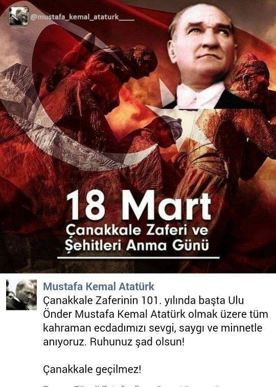 Çanakkale Zaferinin 101.yılında başta Ulu Önder Mustafa Kemal Atatürk olmak üzere tüm kahraman ecdadımızı sevgi,saygı ve minnetle anıyoruz  Ruhları şad olsun  Çanakkale Geçilmez