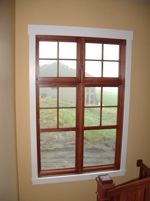 Wood window white trim