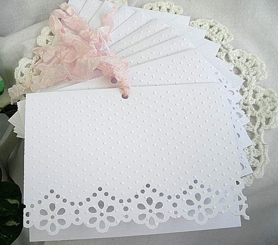Doily Paper Lace Embossed Cards Shabby Chic Tea Shower Wedding 20 Card Set w Embossed Envelopes -  Any Color