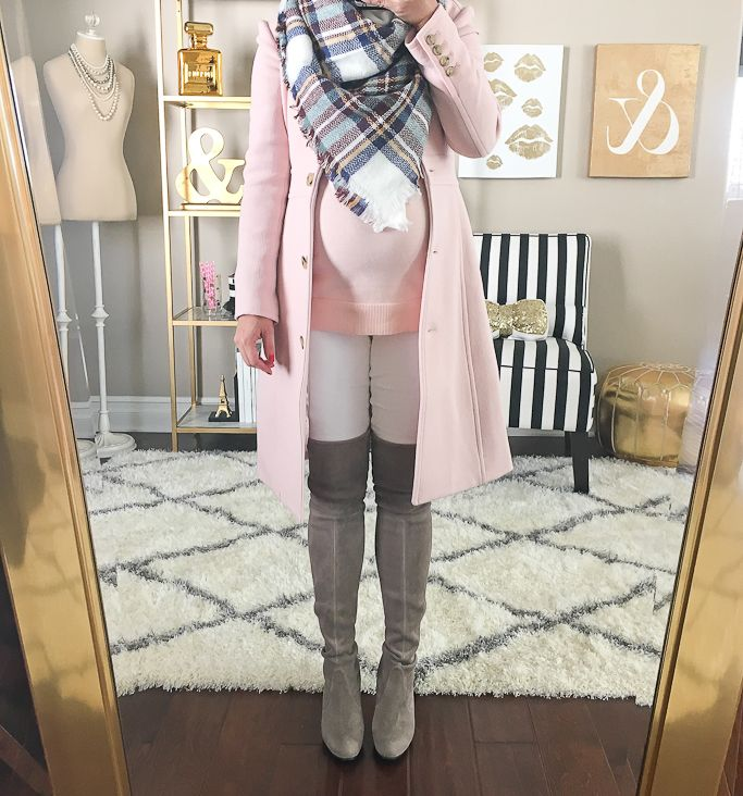 StylishPetite.com   J.Crew pink lady day coat, Stuart Weitzman highland grey over the knee boots, pink tunic sweater, Montgomery tartan blanket scarf, white maternity jeans, pregnant, baby bump, Fall outfit, cold weather outfit, gold mirror