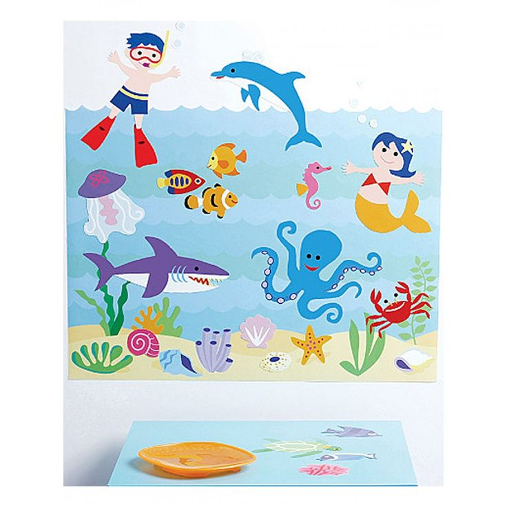 This Wallies Wall Play Seaquarium is a fantastic, interactive mural that will look great in any child's bedroom. Ocean accessories include seaweed, shells, fish and other sea life.