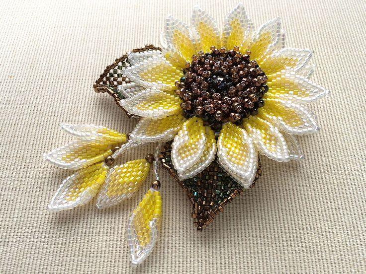 Glitter sunflower beads corsage