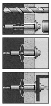 HOLLOW_WALL_ANCHORS Illustrations This is basically how they work.  1) Pre-drill the hole 2) Tap the hollow anchor in with a hammer flush to the wall surface 3) Tighten the screw (this will spread the end of the hollow anchor behind the wall holding it tightly in place). 4) Loosen the screw so that you have enough room to hang your new Modern Digital Canvas Print from it. http://www.md-canvas.com/main-1/