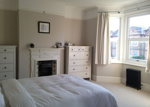 Dulux Egyptian cotton - room color. Picture rail and bedroom fireplace