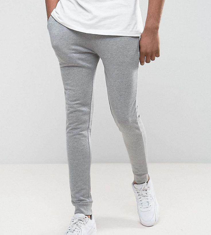 ASOS TALL Super Skinny Joggers In Gray Marl - Gray
