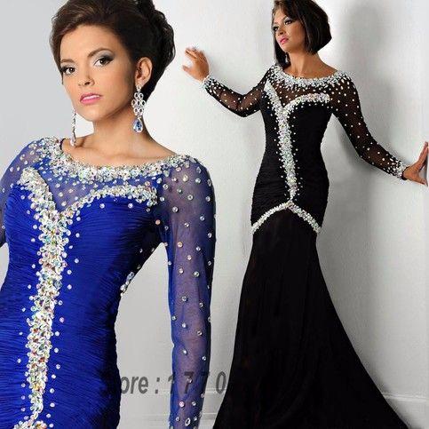 Crystal Mermaid Prom Dress Black Crystal Royal Blue Mermaid Long Sleeve Evening Dresses