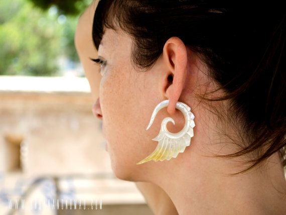 Check out Fake Gauges Earrings Mother Pearl Earrings Wings White Angel Tribal Earrings - Abalone Shell Gauges - FG002 AS ALL on organicethnic