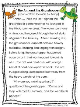 This is a photo of Tactueux The Ant and the Grasshopper Story Printable