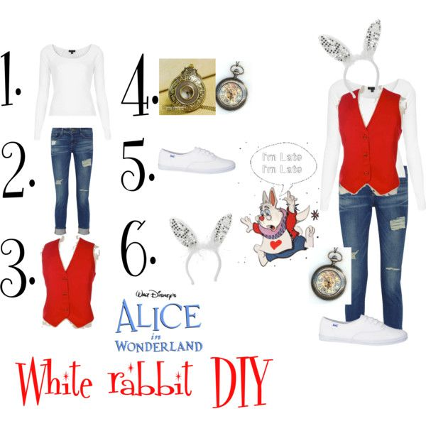 White rabbit diy Halloween costume by dreamingdisney on Polyvore featuring Topshop, Frame Denim, Keds, Retrò, Carole, Disney, women's clothing, women's fashion, women and female