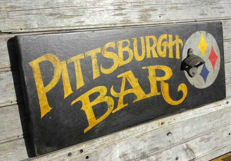ETST! YES PLEASE!!! Pittsburgh  BAR style Sign, original,wooden, wallhanging, decor, housewares,Steelers