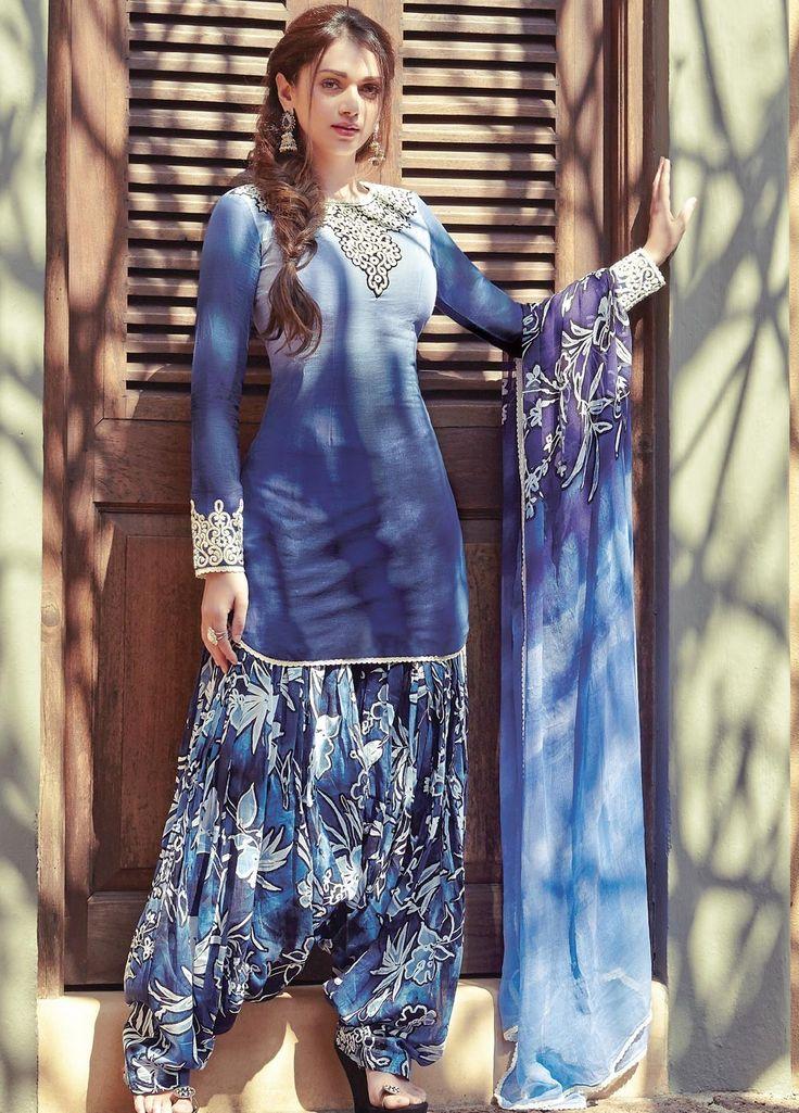 Aditi Rao Hydari Shaded Blue Punjabi Suit