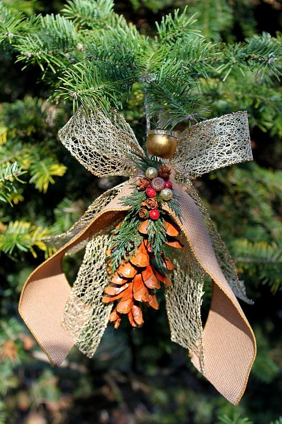 Handmade pine cone angel ornament with burlap by for Pine cone ornaments